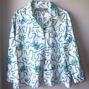 Life Style Woman White Jean Jacket